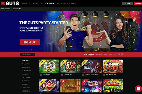 Guts Casino NZ home page