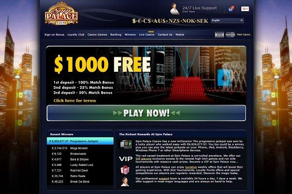 Spin Palace Homepage