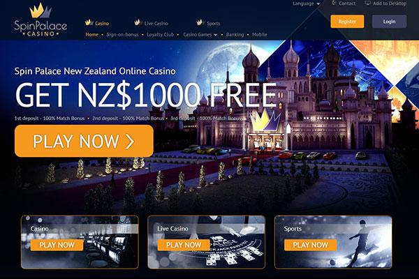 Spin palace NZ new home page