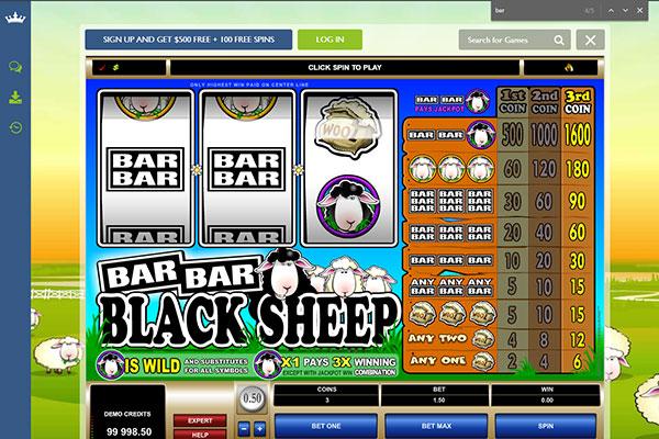 Euro Palace bar bar black sheep pokie