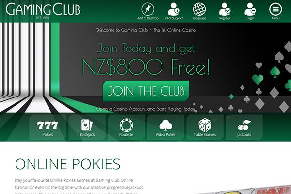 Gaming club NZD home
