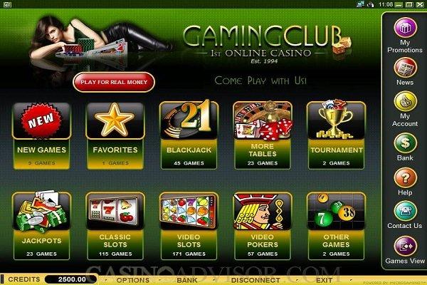 gaming club casino software screenshot