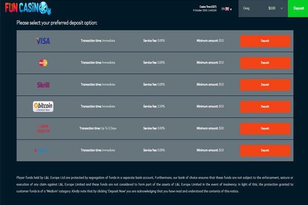 fun casino screenshot deposit NZ