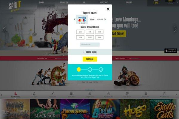 screenshot spinit deposit