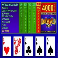 Dueces wild poker paytable