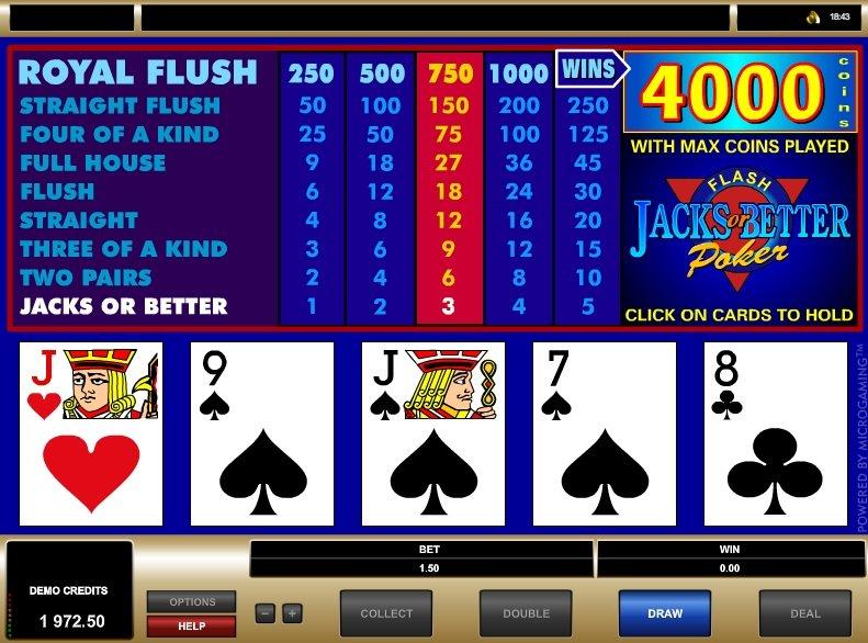 Jacks or Better power poker win