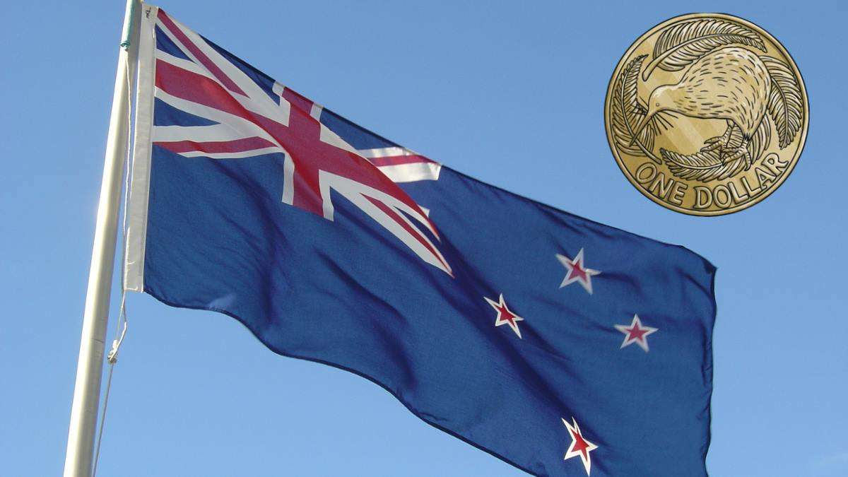 Illustrating the concept of a 1 dollar deposit casino with a photo of the New Zealand flag with a drawing of a New Zealand one dollar coin