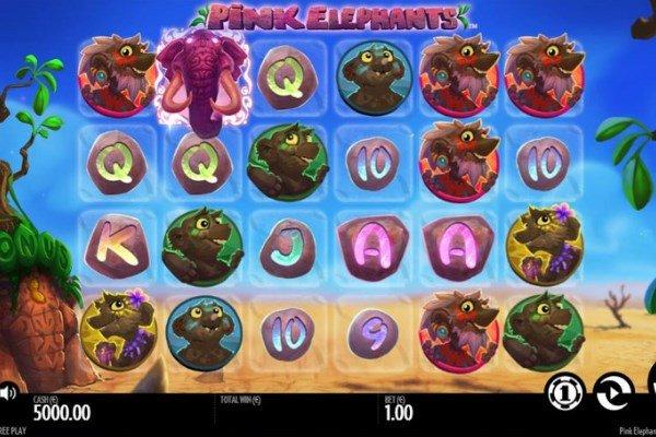 Screenshot of pink elephants slot by Thunderkick