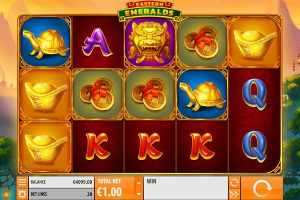 screenshot of eastern emeralds slot game by quickspin gaming