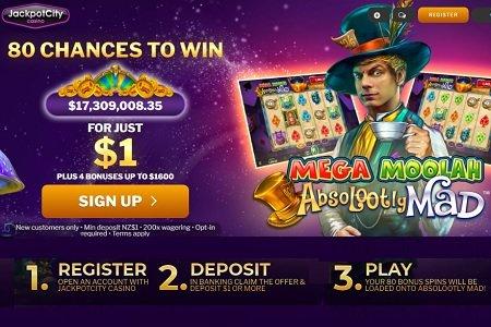 Jackpot City 1 dollar deposit welcome offer