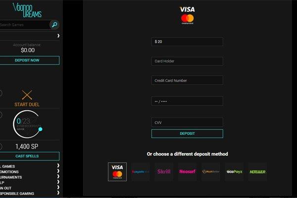 VoodooDreams Casino banking methods