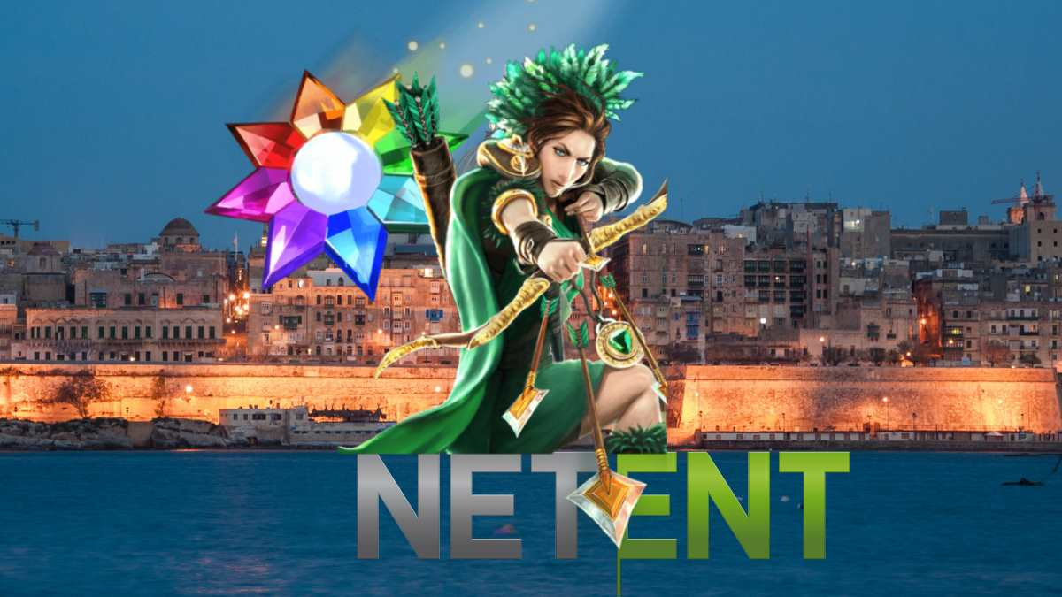 Netent logo with Malta in background